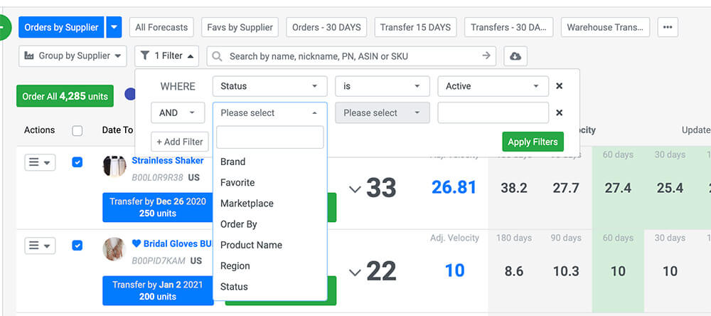 Filtering and Grouping Custom Forecasting Review for SoStocked