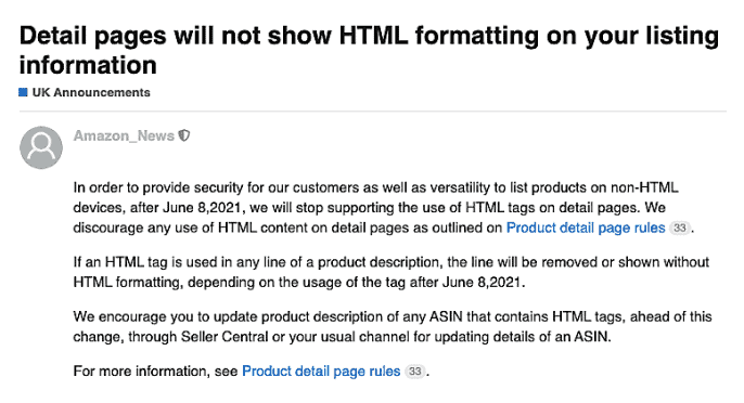 Amazon Removed HTML formatting Product Descriptions and Detail Pages