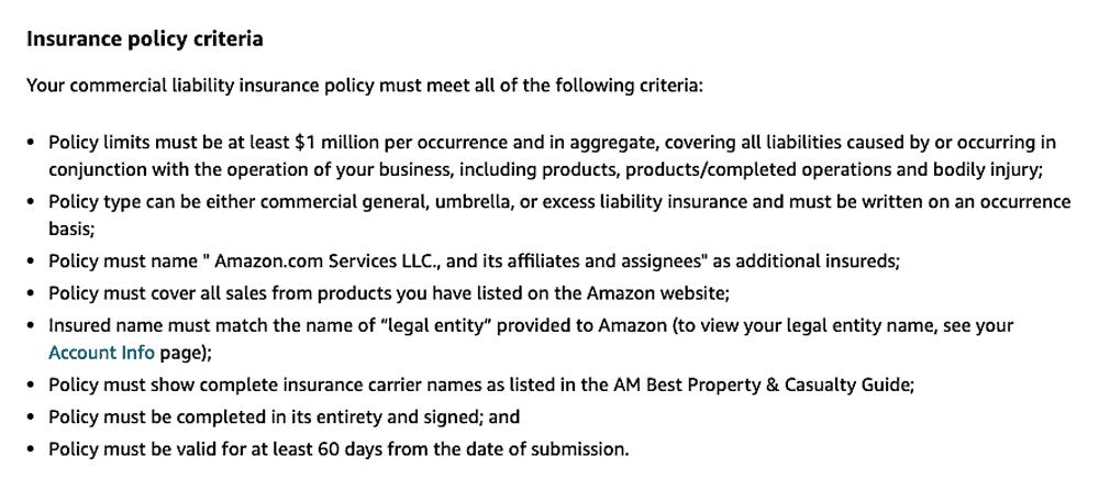 Amazon Seller Insurance Policy Criteria