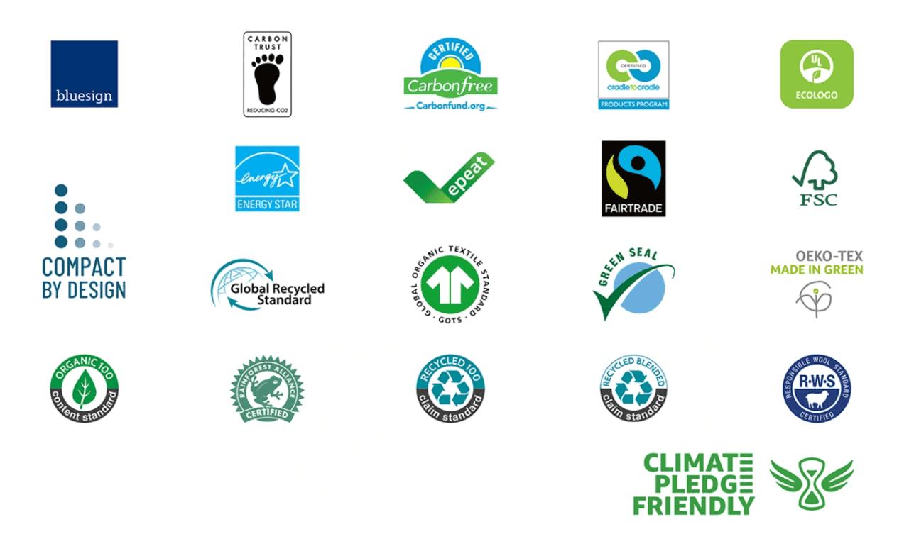 Amazon Climate Pledge Friendly Certification Badges